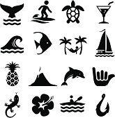 Island theme icon set. Professional icons for your print project or Web site. See more in this series.