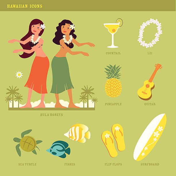 hawaiian icons - hawaiian lei stock illustrations, clip art, cartoons, & icons