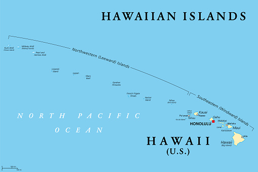 Hawaiian Islands, political map, the state of Hawaii and Midway Island
