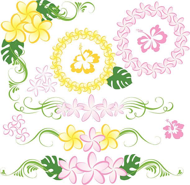 hawaiian lei - hibiskusgarten stock-grafiken, -clipart, -cartoons und -symbole