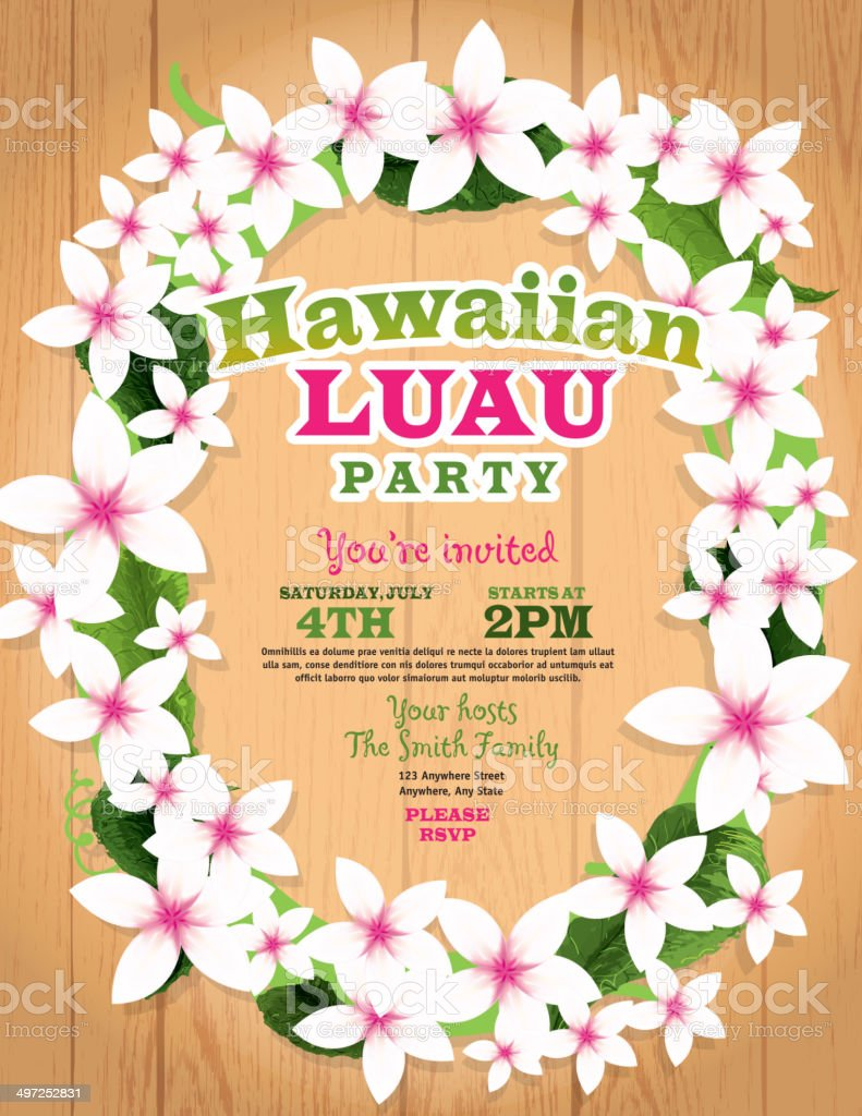 hawaiian luau invitation design template lei flowers and