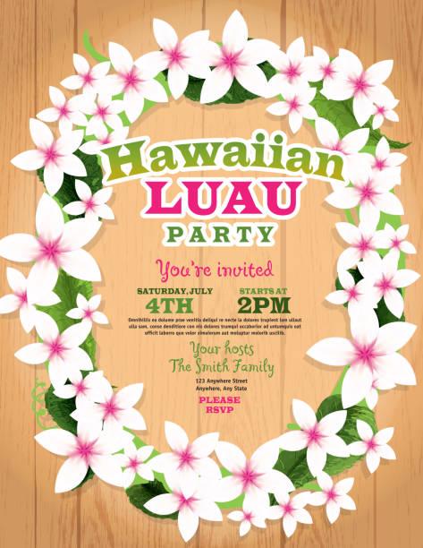 hawaiian luau invitation design template lei flowers and wood background - hawaiian lei stock illustrations, clip art, cartoons, & icons