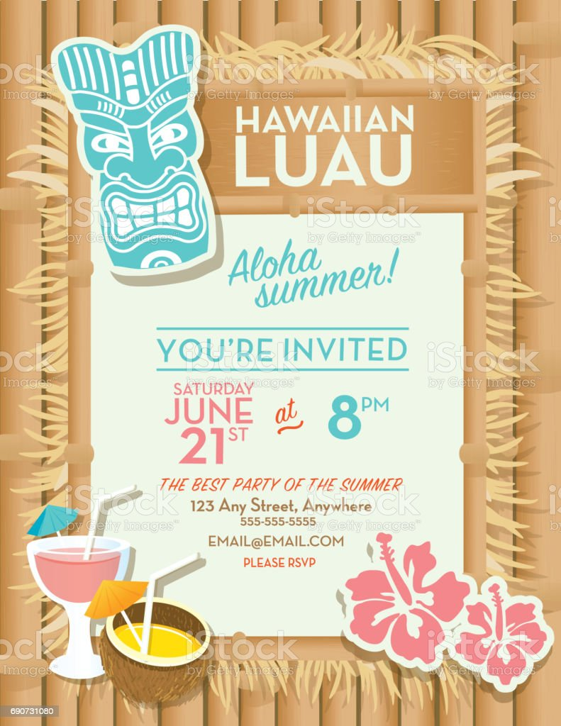 hawaiian luau invitation design template stock vector art more