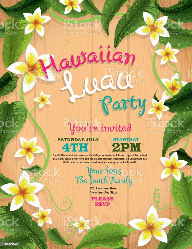 Hawaiian luau invitation design template with flowers and wood hawaiian luau invitation design template with flowers and wood background royalty free hawaiian luau invitation stopboris Gallery