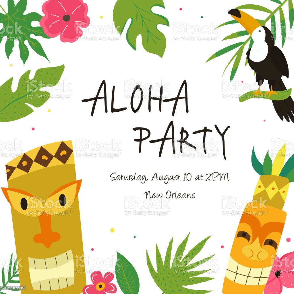 Hawaiian Luau Party Invitation Template With Toucan And