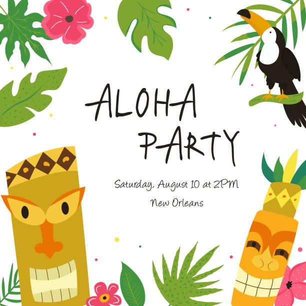 illustrazioni stock, clip art, cartoni animati e icone di tendenza di hawaiian luau party invitation template with toucan and tribal totems - totem fair