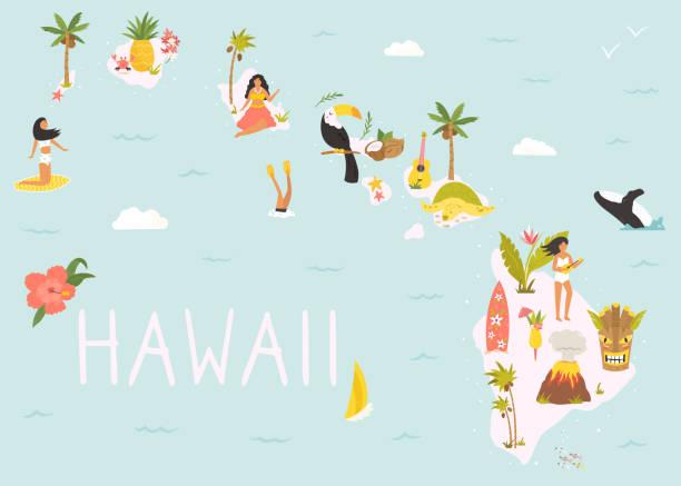 illustrazioni stock, clip art, cartoni animati e icone di tendenza di hawaiian map with icons, characters and symbols. - totem fair