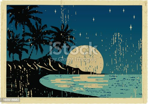 vintage postcard of hawaii by night