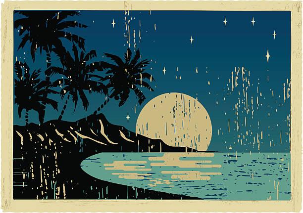 hawaiian night postkarte - buchten stock-grafiken, -clipart, -cartoons und -symbole