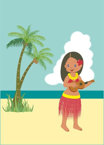 Hawaiian, one hula girl with a ukulele, two palm trees on the beach