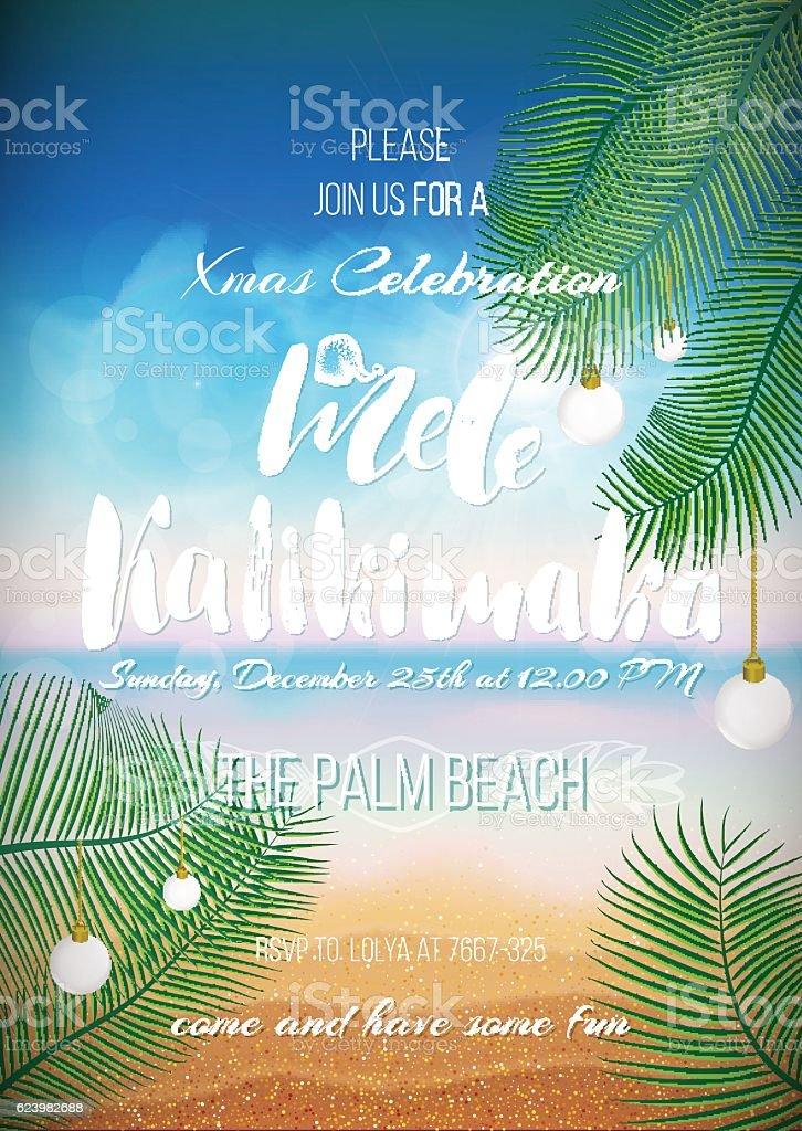 Christmas In Hawaii Party.Hawaiian Party Christmas Handwritten Text Stock Illustration