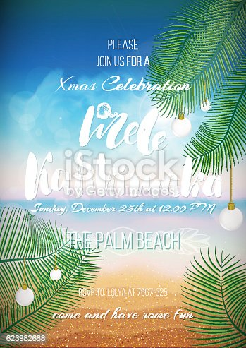 Hawaiian party template, Christmas handwritten text for holiday poster, flyer, invitation template with sunny beach, sea, clouds, palms, balls.