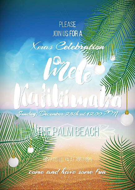 Hawaiian party, Christmas handwritten text Hawaiian party template, Christmas handwritten text for holiday poster, flyer, invitation template with sunny beach, sea, clouds, palms, balls. big island hawaii islands stock illustrations