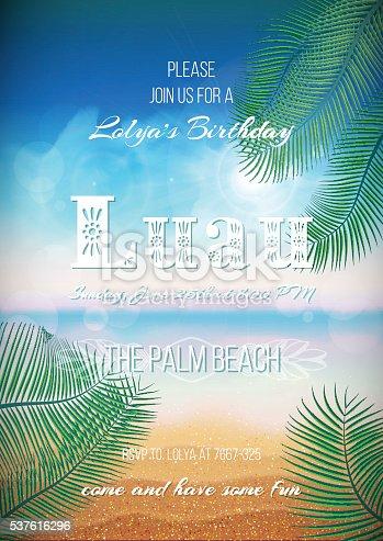 istock Hawaiian Party, Luau feast poster, flyer, invitation template 537616296