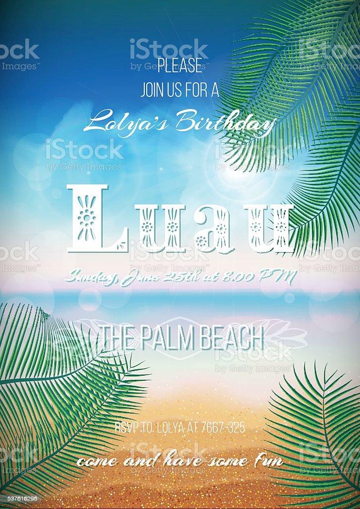 Hawaiian Party, Luau feast poster, flyer, invitation template vector art illustration