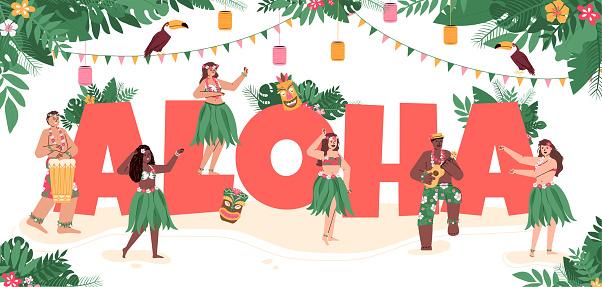 Hawaiian people dancing aloha sign decorated, flat cartoon vector illustration