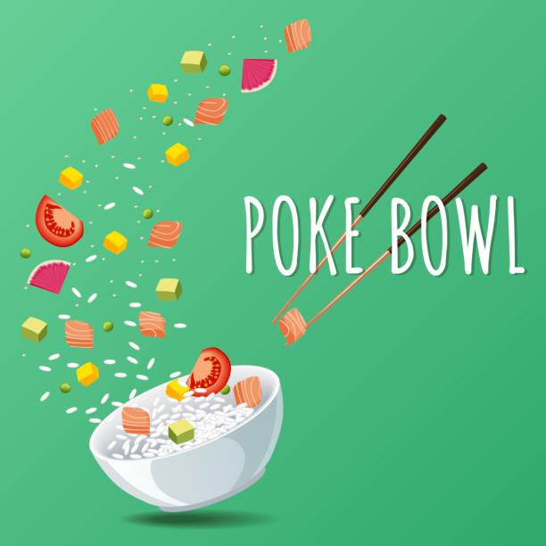 ハワイアンの突く緑と野菜のサーモン ボウルが。メニュー デザイン、コピー領域の背景 - ポキ点のイラスト素材/クリップアート素材/マンガ素材/アイコン素材