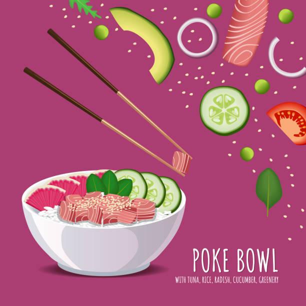 ハワイアン ポーク マグロ丼、ご飯、大根、キュウリ、緑、ごま。メニューのベクトル テンプレート - ポキ点のイラスト素材/クリップアート素材/マンガ素材/アイコン素材