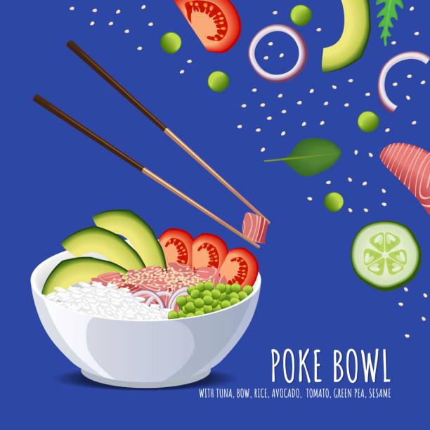 ハワイアンを突くマグロ丼、弓、ご飯、アボカド、トマト、グリーン ピースとゴマ。メニューのベクトル テンプレート - ポキ点のイラスト素材/クリップアート素材/マンガ素材/アイコン素材