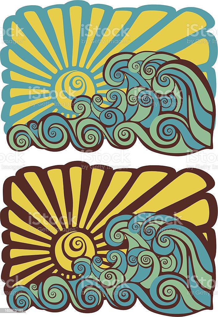 Hawaiian psychedelic sunset stencil royalty-free stock vector art