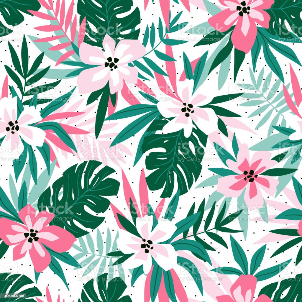 Hawaiian Seamless Pattern With Pink Flowers And Green ...