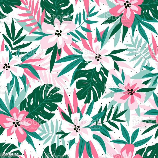 Hawaiian seamless pattern with pink flowers and green leaves stylish vector id1064909186?b=1&k=6&m=1064909186&s=612x612&h=xxfji47cn y3xaz4fny4bgpezeruuyhgksn761lfkdm=