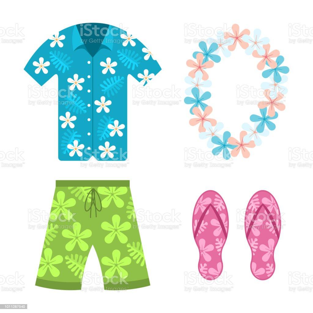 d9b3b45772 Ilustración de Camisa Hawaiana Pantalones Cortos De Verano Playa ...