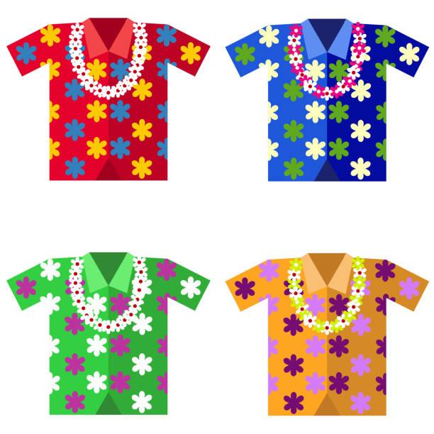 hawaiian shirt with a garland of flowers - hawaiian lei stock illustrations, clip art, cartoons, & icons