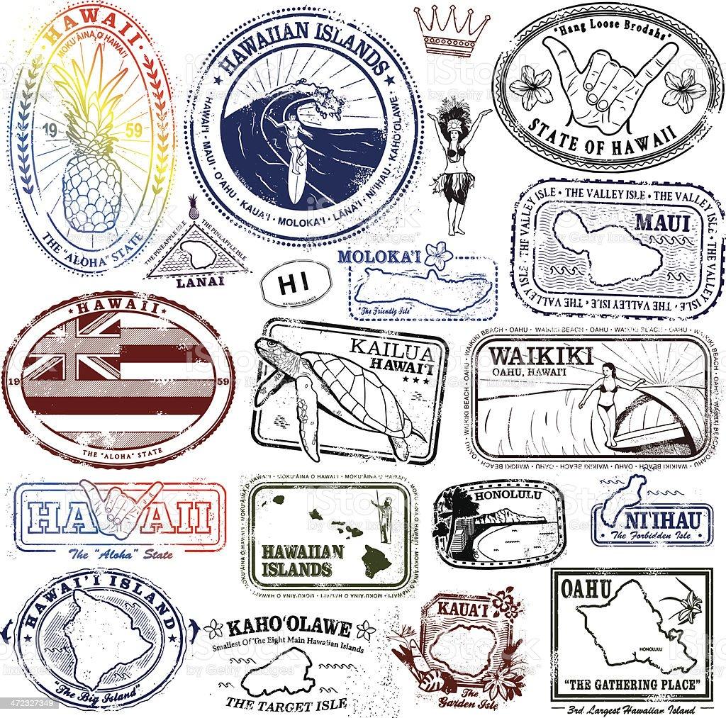 Hawaiian Stamps Supreme vector art illustration