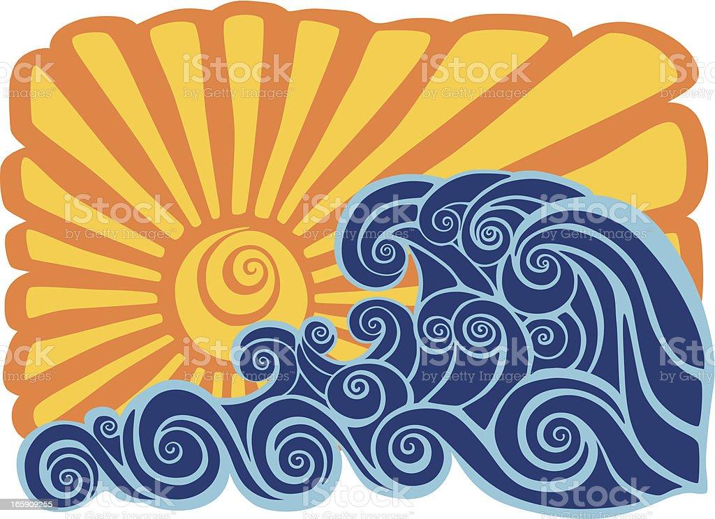 Hawaiian sunset stencil vector art illustration