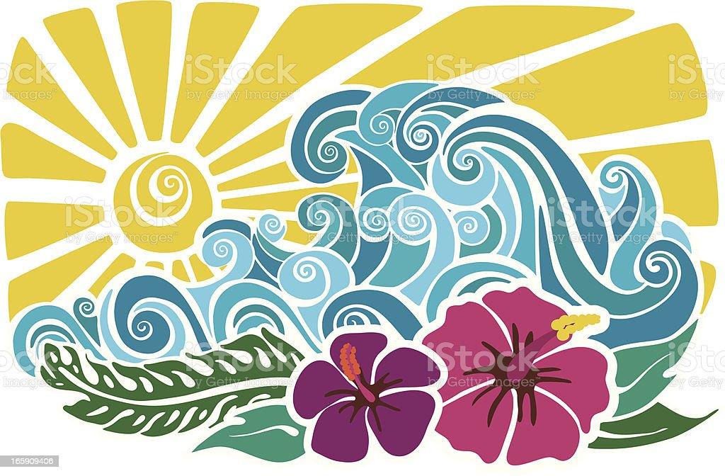 Hawaiian sunset stencil royalty-free stock vector art