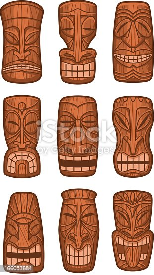 Hawaiian tiki god statue carved polynesian tikki ku lono wood vector illustration.