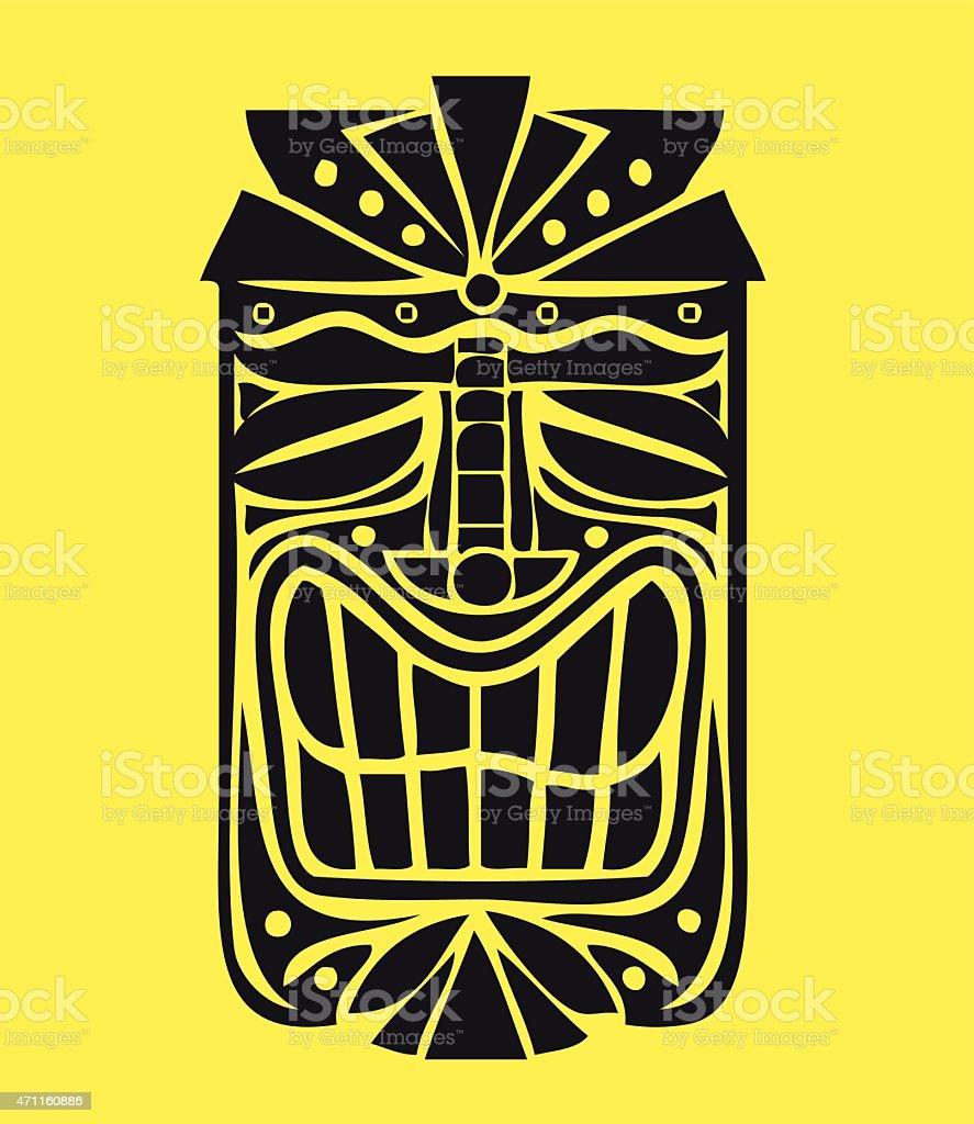 Hawaiian Tiki Mask vector design, exotic island decoration vector art illustration