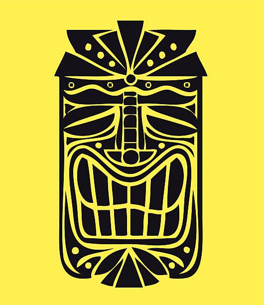 illustrazioni stock, clip art, cartoni animati e icone di tendenza di hawaiian tiki maschera vettoriale di design, isola esotica decorazione - totem fair