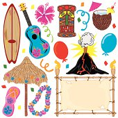 Hawaiian Tiki Party Clip Art