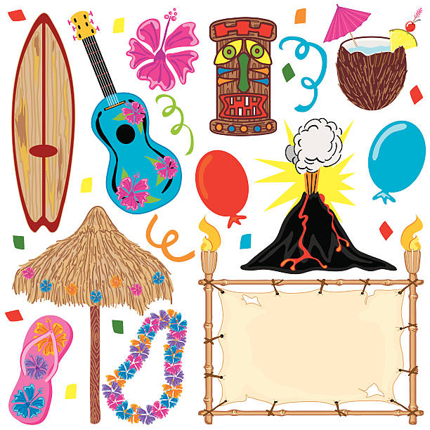 hawaiian tiki party clip art - hawaiian lei stock illustrations, clip art, cartoons, & icons
