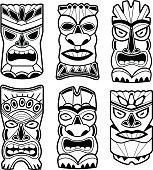 Vector illustration set of cartoon carved Hawaiian tiki god statue black and white masks.