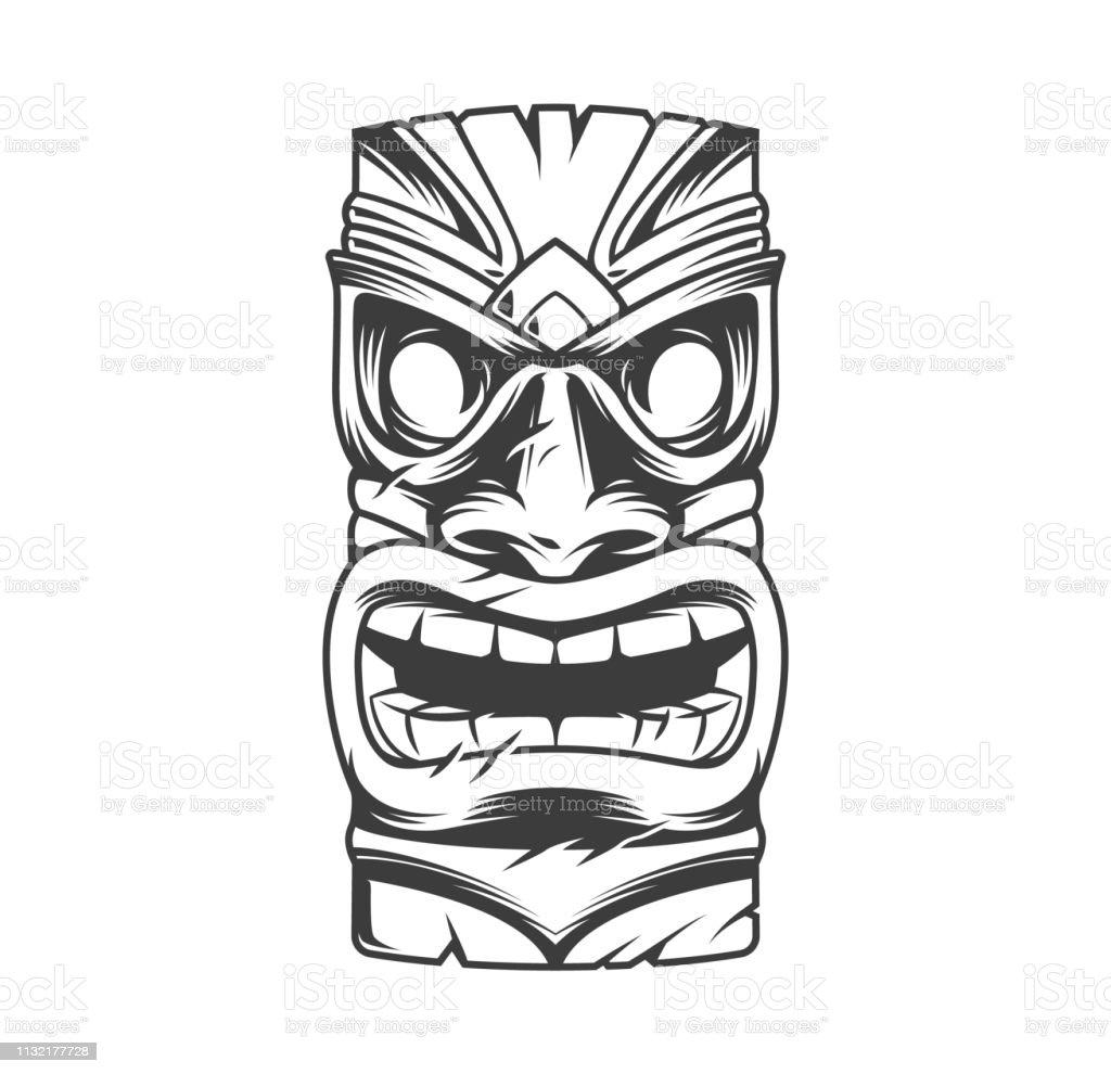 Hawaiian traditionele Tribal Tiki Mask - Royalty-free Afgelegen vectorkunst