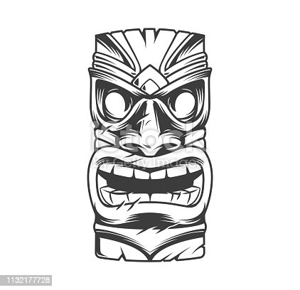 Hawaiian traditional tribal tiki mask in vintage monochrome style isolated vector illustration