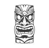 Hawaiian traditional tribal tiki mask in vintage monochrome style isolated vector illustration