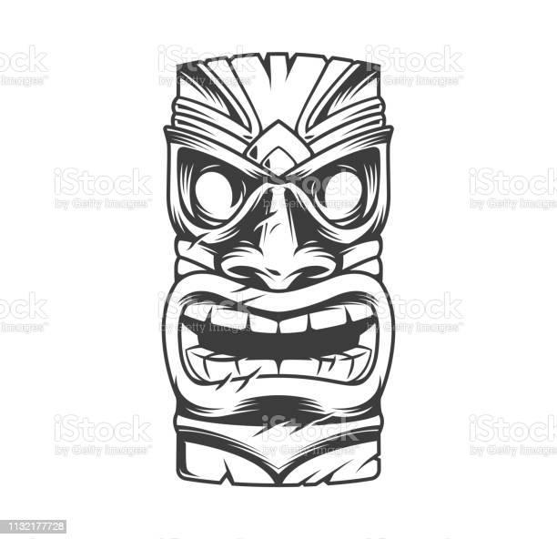 Hawaiian Traditionele Tribal Tiki Mask Stockvectorkunst en meer beelden van Afgelegen