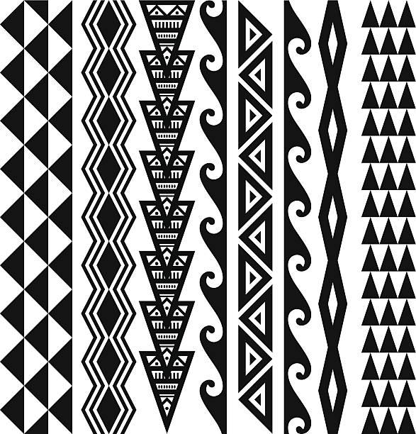 Hawaiian Tribal Patterns Hawaiian kakau tribal tattoo patterns. hawaiian culture stock illustrations