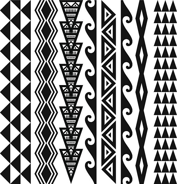 Hawaiian Tribal Patterns Hawaiian kakau tribal tattoo patterns. hawaiian culture stock illustrations
