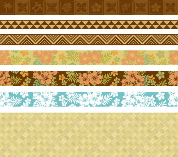 Hawaiian tropical frames and lines. summer tropical frames. background of lauhala. hawaiian culture stock illustrations