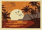 old porstacrd of hawaiian sunset