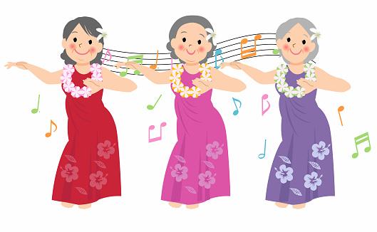 Hawaiian woman dancing hula