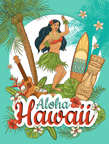 Hawaiian woman stand dancing hula surrounded by palms and flowers cartoon style