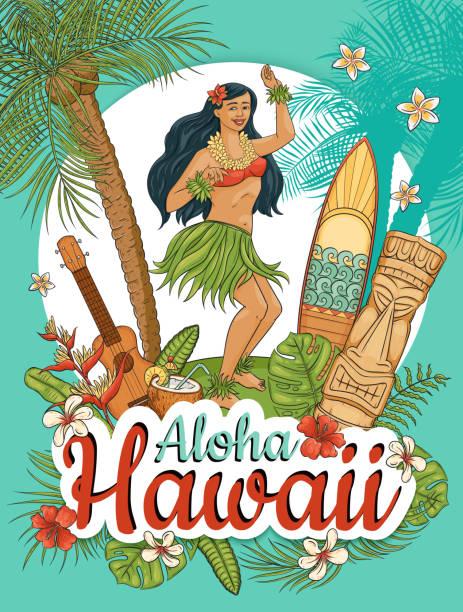 illustrazioni stock, clip art, cartoni animati e icone di tendenza di donna hawaiana stand danzante hula circondato da palme e fiori stile cartone animato - totem fair