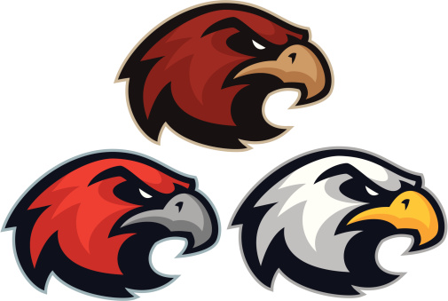 Hawk Eagle mascot heads
