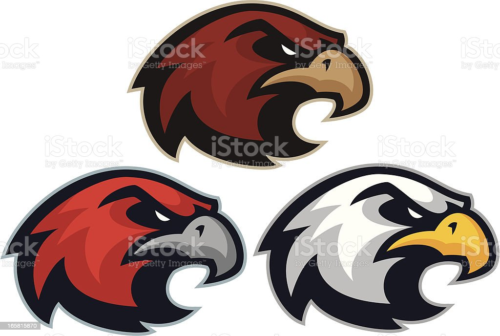 Hawk Eagle mascot heads vector art illustration